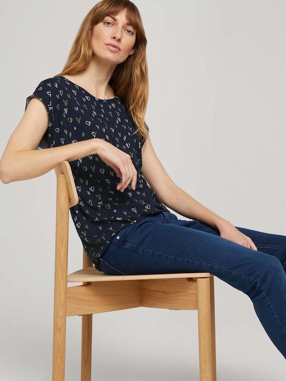 Elastisches T-Shirt mit Print - Frauen - navy scribbled hearts design - 5 - TOM TAILOR