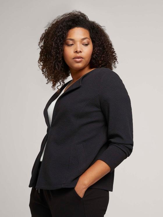 Textured blazer with organic cotton - Women - deep black - 5 - My True Me