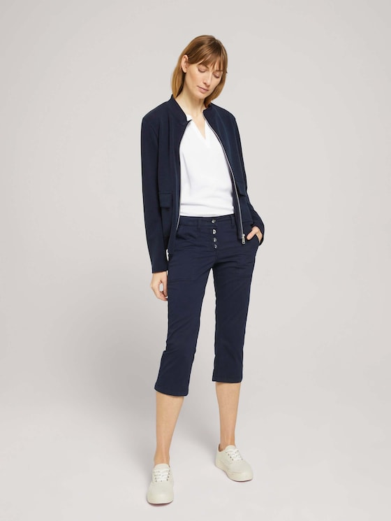 Tapered Relaxed Caprihose mit Knopfleiste - Frauen - Sky Captain Blue - 3 - TOM TAILOR