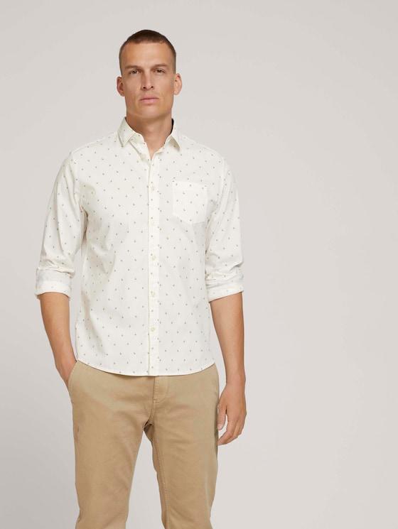 Patterned stretch shirt - Men - off white scattered design - 5 - TOM TAILOR