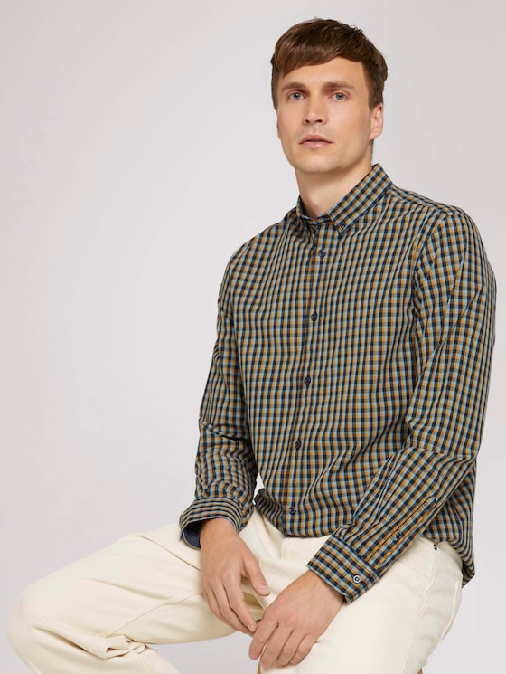 Checked shirt - Men - blue yellow navy small check - 5 - TOM TAILOR