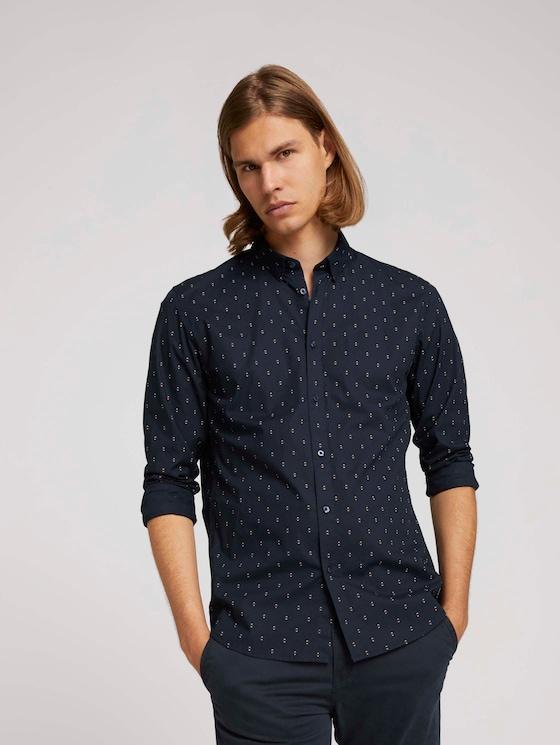 overhemd met patroon - Mannen - cognac striped angular dot - 5 - TOM TAILOR Denim