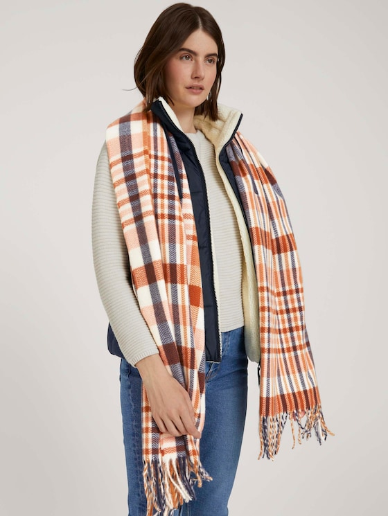 Fringed scarf with recycled polyester - Women - herringbone check camel rose - 5 - TOM TAILOR Denim