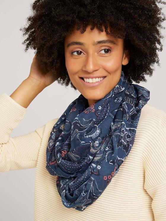 Buissjaal met patroon - Vrouwen - blue apricot paisley design - 5 - TOM TAILOR