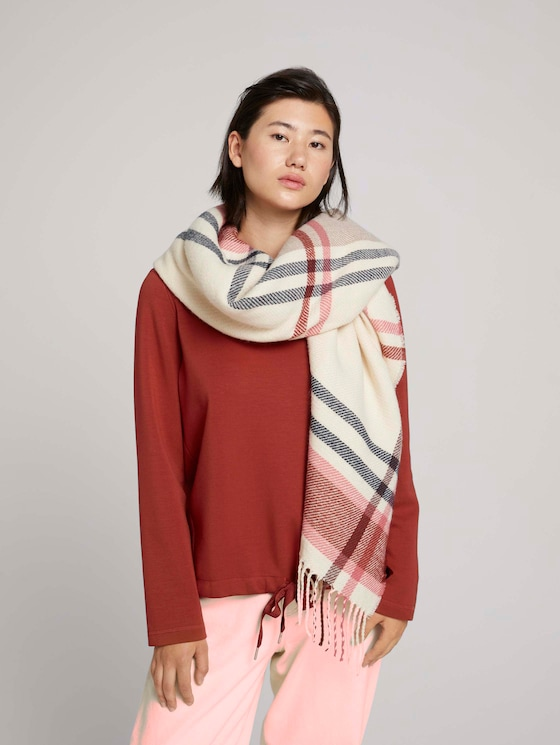 Checkered reversible scarf - Women - cozy pink - 5 - Tom Tailor E-Shop Kollektion