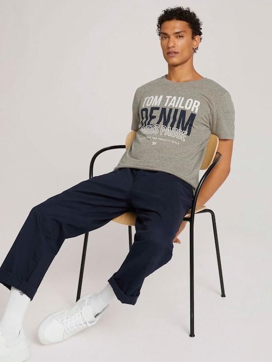 T-Shirt mit Print - Männer - silver olive melange - 5 - TOM TAILOR Denim