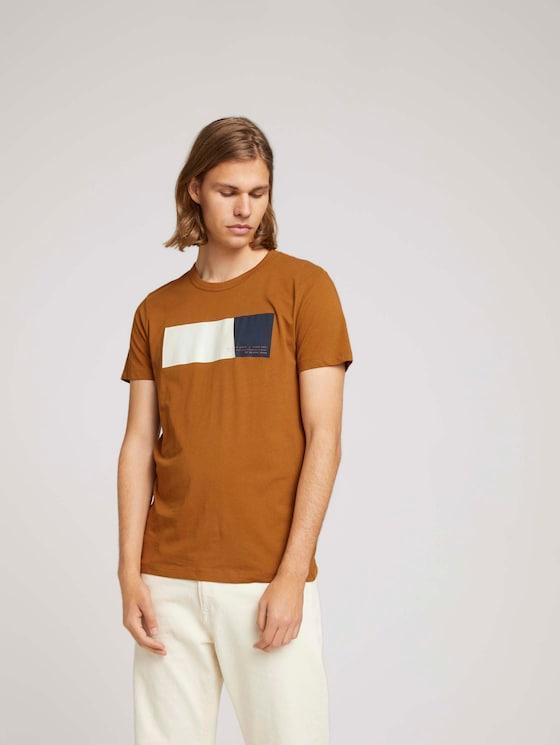 T-Shirt mit Print aus Bio-Baumwolle - Männer - deep cognac - 5 - TOM TAILOR Denim