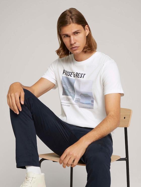 T-shirt met fotoprint - Mannen - White - 5 - TOM TAILOR Denim
