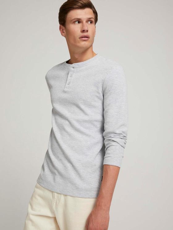 shirt met lange mouwen en henleykraag - Mannen - Light Stone Grey Melange - 5 - TOM TAILOR Denim