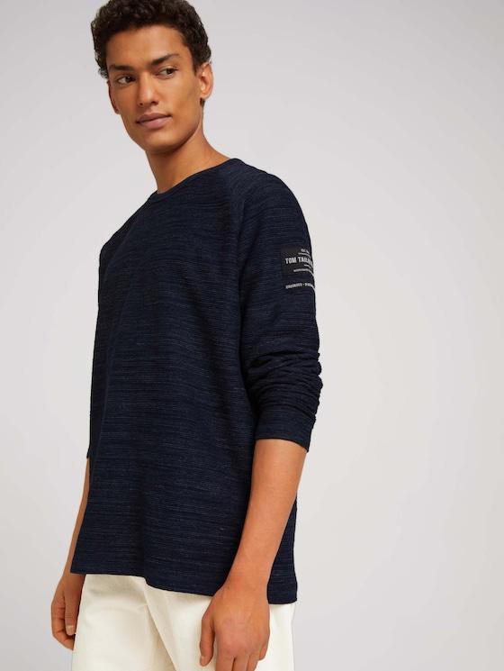 textured long-sleeved shirt - Men - Sky Captain Blue Non-Solid - 5 - TOM TAILOR Denim