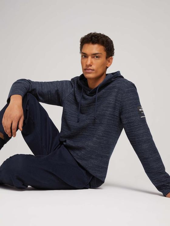 textured hoodie - Men - Sky Captain Blue Non-Solid - 5 - TOM TAILOR Denim