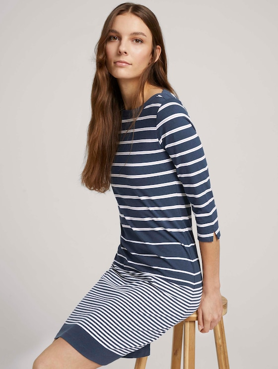 Gestreepte jerseyjurk - Vrouwen - blue gradient stripe - 5 - TOM TAILOR