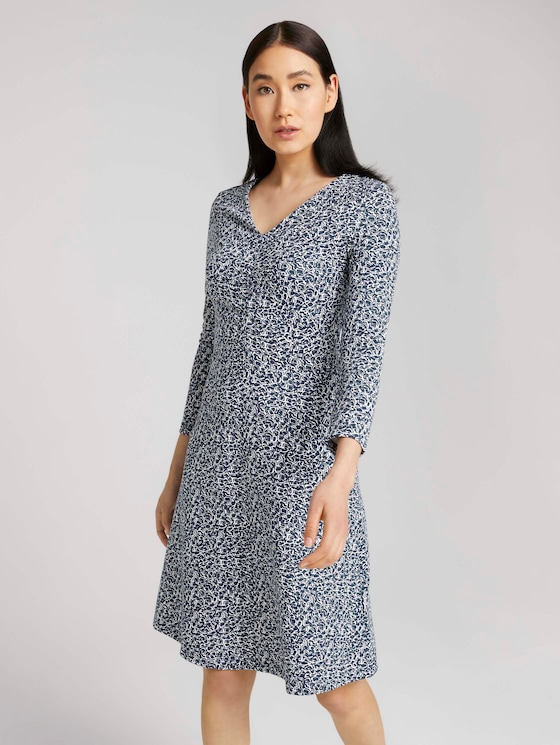 Ruffled patterned midi dress - Women - blue offwhite minimal - 5 - TOM TAILOR