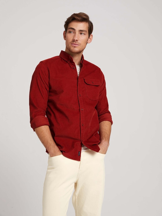 Cord shirt with a chest pocket - Men - chili oil red - 5 - TOM TAILOR