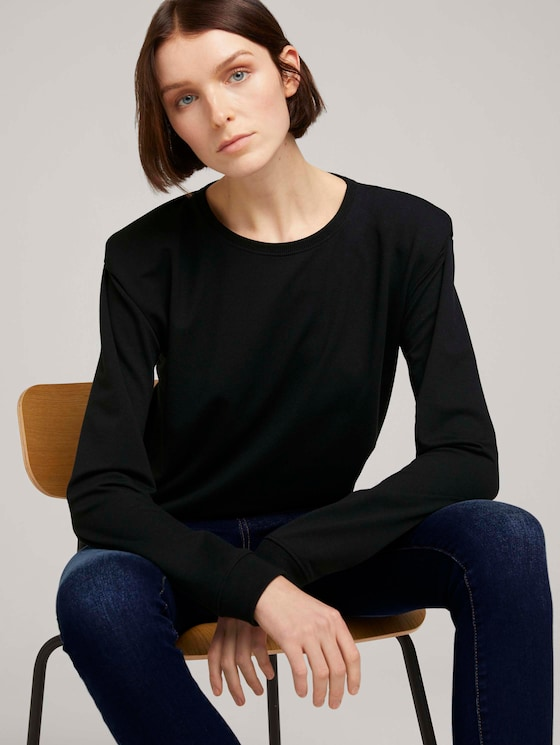 Sweatshirt mit Schulterpolstern - Frauen - Deep Black - 5 - TOM TAILOR Denim