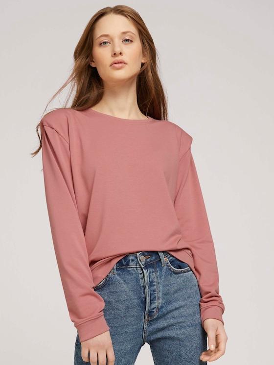 Sweatshirt mit Schulterpolstern - Frauen - cozy rose - 5 - TOM TAILOR Denim