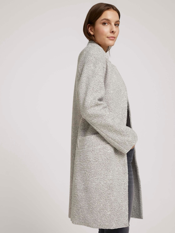 Boucle Mantel - Frauen - Silver Grey Melange - 5 - TOM TAILOR