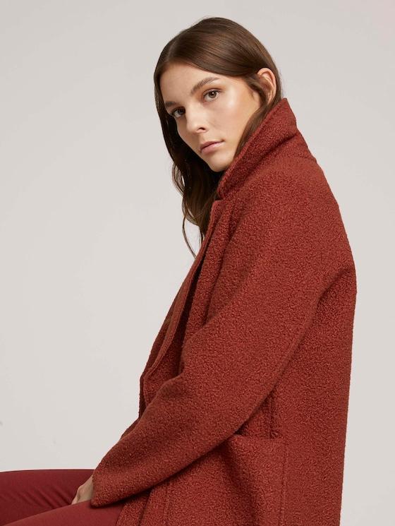Loose-fit boucle coat - Women - dark maroon red - 5 - TOM TAILOR