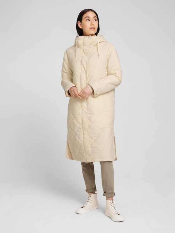 Waisted quilted coat with a hood - Women - smooth light sand - 5 - TOM TAILOR
