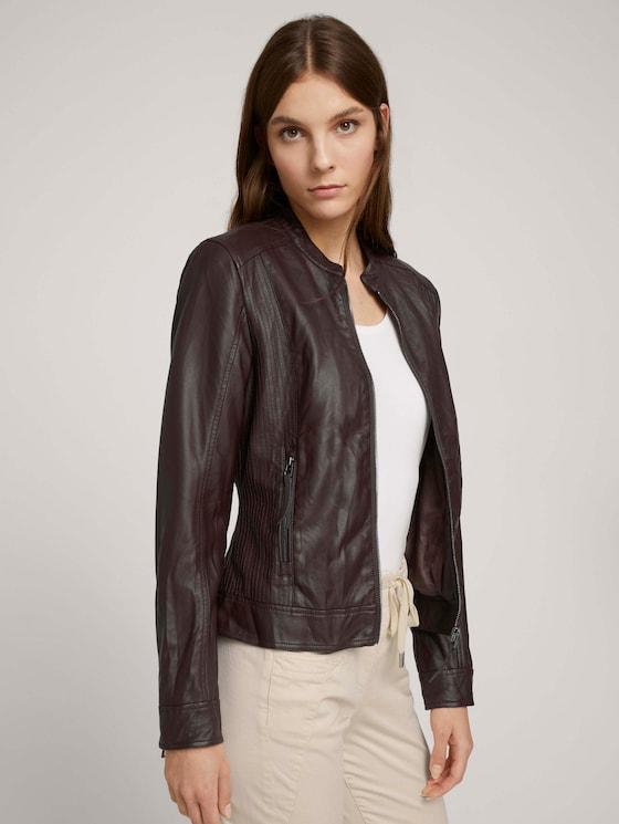 Imitation leather biker jacket - Women - java dark brown - 5 - TOM TAILOR