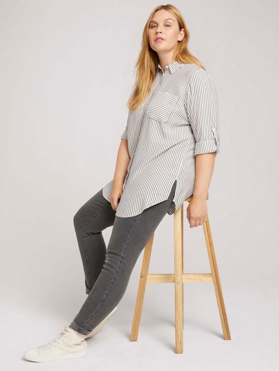 Curvy - long striped shirt blouse - Women - anthra white stripe - 5 - My True Me