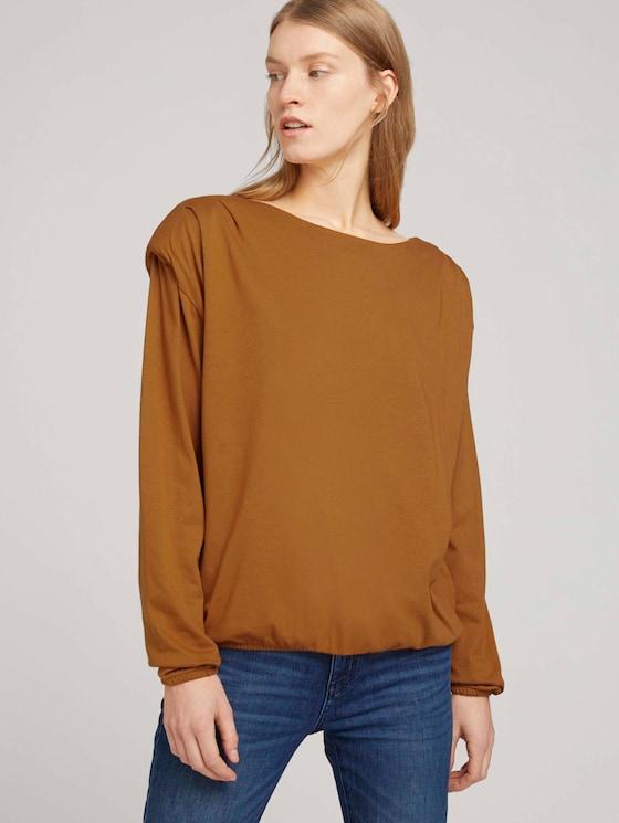 Elastisches Langarmshirt mit Schulterpolstern - Frauen - tawny brown - 5 - TOM TAILOR