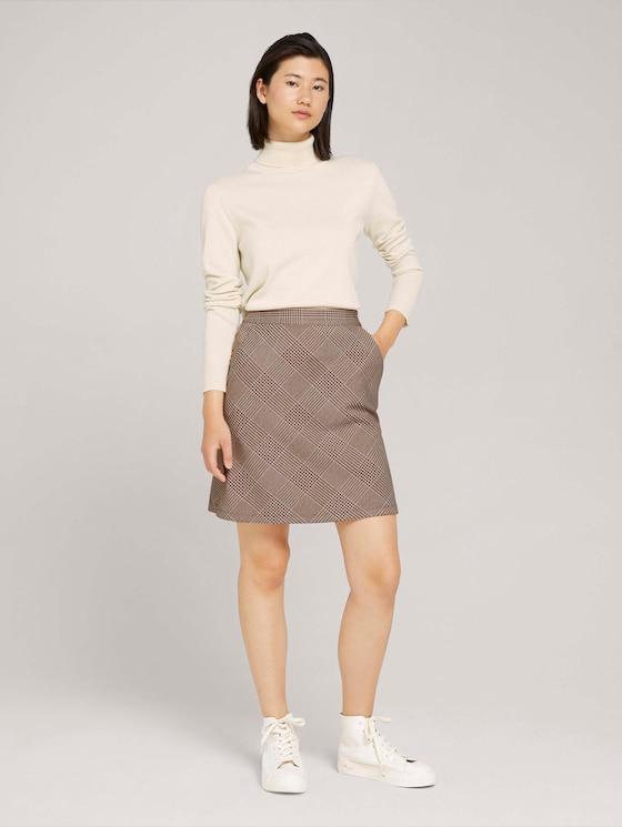 Checked skirt - Women - offwhite beige glencheck ck - 3 - TOM TAILOR