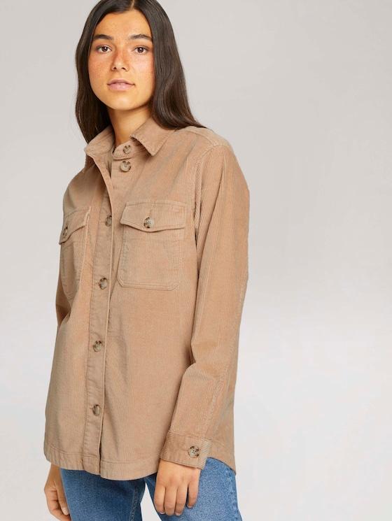 Shacket Hemdjacke aus Cord - Frauen - dark sand beige - 5 - TOM TAILOR Denim