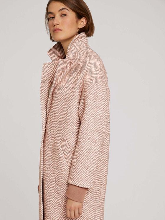 Mantel mit Fischgrätenmuster - Frauen - rose brown herringbone - 5 - TOM TAILOR Denim