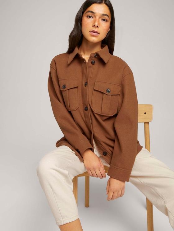 Hemdjacke mit seitlichen Eingrifftaschen - Frauen - amber brown melange - 5 - TOM TAILOR Denim