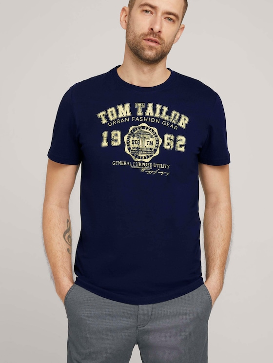 T-Shirt mit Logo-Print - Männer - Sailor Blue - 5 - TOM TAILOR