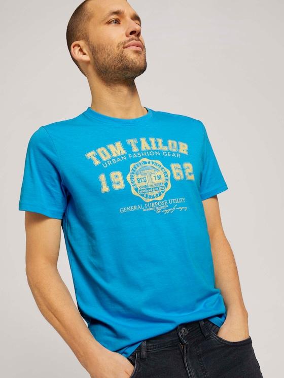 T-Shirt mit Logo-Print - Männer - north blue - 5 - TOM TAILOR
