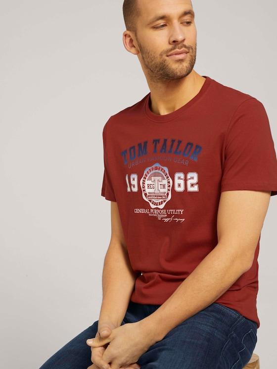 T-Shirt mit Logo-Print - Männer - chili oil red - 5 - TOM TAILOR