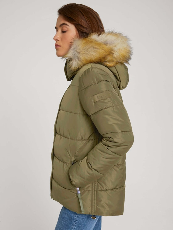 Quilted jacket with recycled polyester - Women - deep olive green - 5 - TOM TAILOR Denim