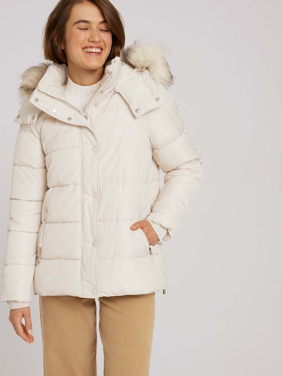 Quilted jacket with recycled polyester - Women - cold beige - 5 - TOM TAILOR Denim