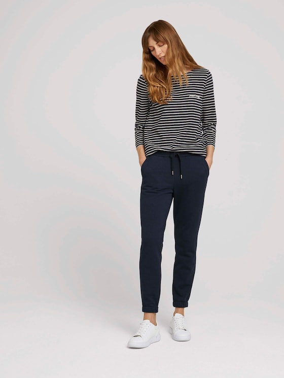 Loose-fit trousers with a drawstring - Women - Sky Captain Blue - 3 - TOM TAILOR