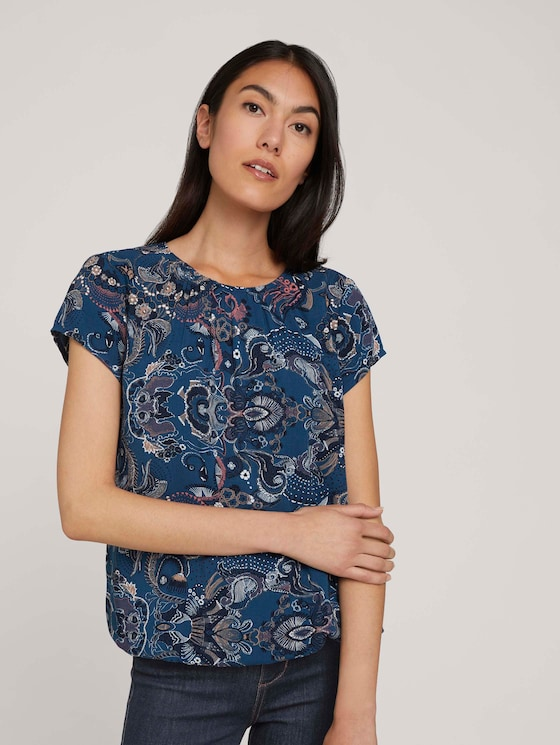 Gedessineerde blouse met korte mouwen en LENZING ™ ECOVERO ™ - Vrouwen - blue apricot paisley design - 5 - TOM TAILOR