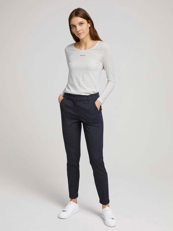 Loose-fit trousers with a crease - Women - navy twill structure - 3 - TOM TAILOR