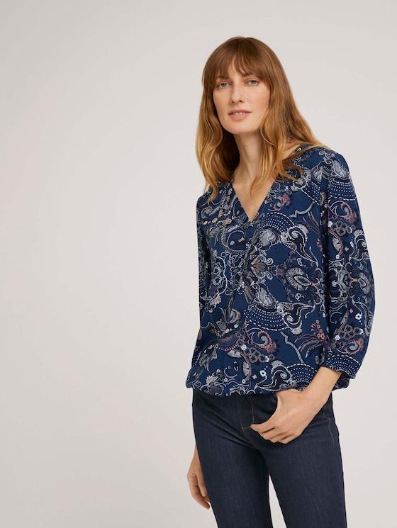 Blouse met V-hals en LENZING™ ECOVERO™ - Vrouwen - blue apricot paisley design - 5 - TOM TAILOR