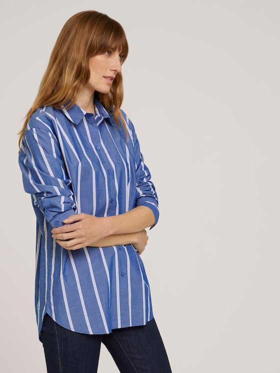Poplin blouse - Women - blue offwhite vertical stripe - 5 - TOM TAILOR