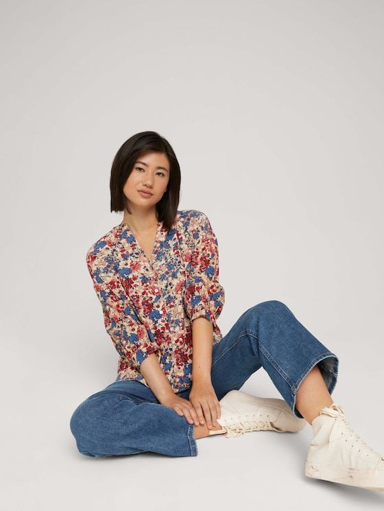 Blouse with a floral pattern - Women - pink big floral design - 5 - TOM TAILOR