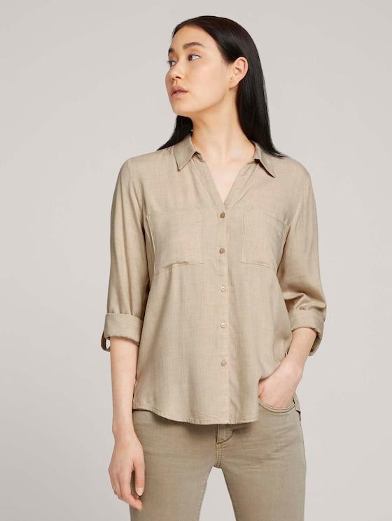 Mottled blouse with pockets - Women - desert sand melange - 5 - TOM TAILOR
