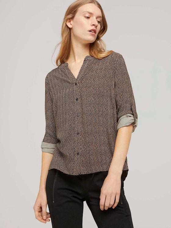 Bluse mit Ärmel Turn-Up - Frauen - herringbone print - 5 - TOM TAILOR
