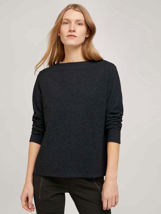Gemustertes Sweatshirt mit U-Boot-Ausschnitt - Frauen - grey herringbone fabric - 5 - TOM TAILOR