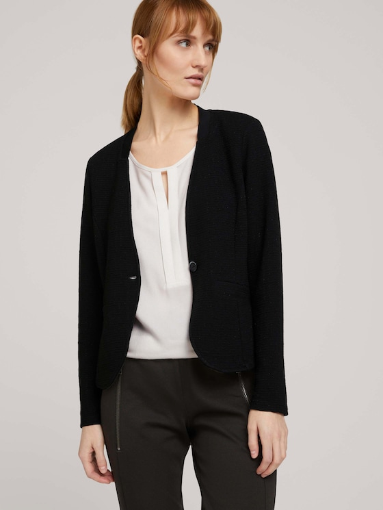 gestructureerde blazer - Vrouwen - Deep Black - 5 - TOM TAILOR