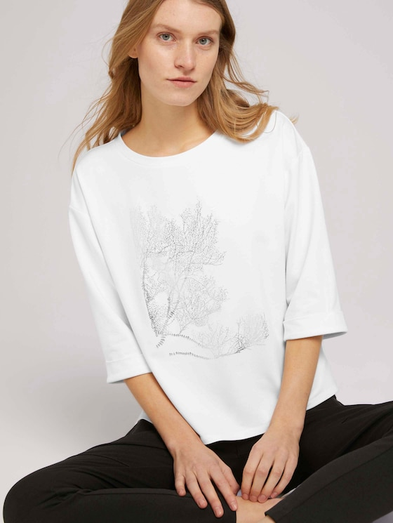 3/4 Arm Shirt mit Print - Frauen - Whisper White - 5 - TOM TAILOR