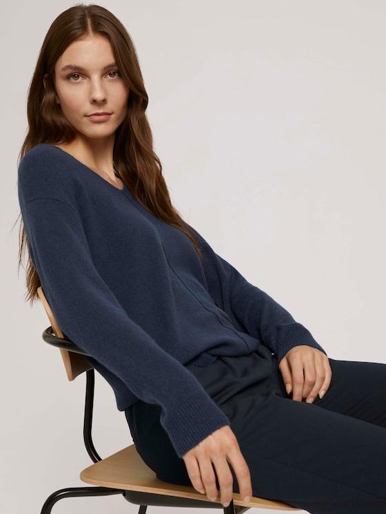 V-Ausschnitt Pullover - Frauen - dark denim blue melange - 5 - TOM TAILOR