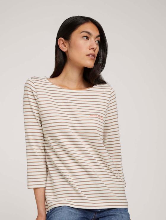 Gestreiftes 3/4 Arm Shirt - Frauen - offwhite clay stripe - 5 - TOM TAILOR
