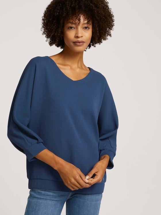 Loose-fit shirt with texture - Women - Dark Denim Blue - 5 - TOM TAILOR