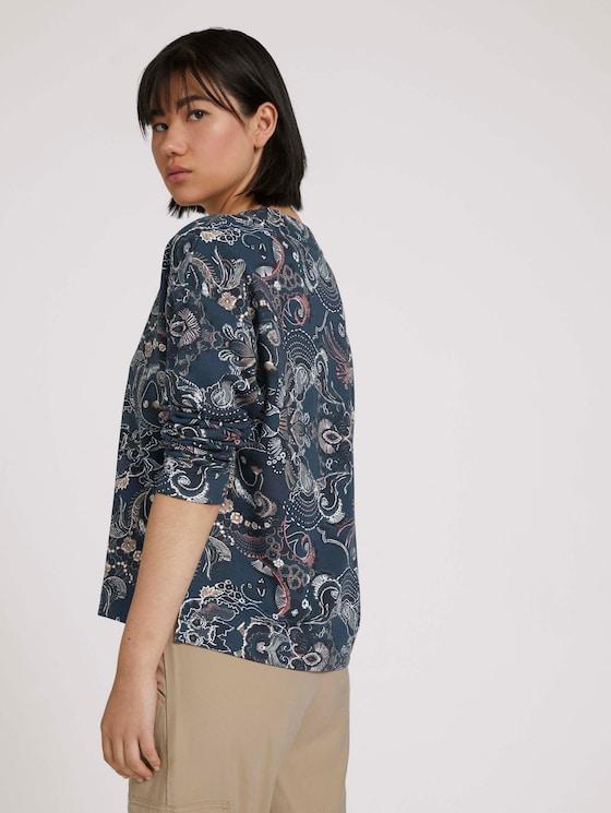Sweatshirt with side slits - Women - blue apricot paisley design - 5 - TOM TAILOR